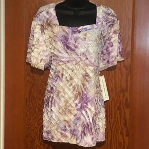 NWT Alfred Dunner Ruffle Floral Blouse